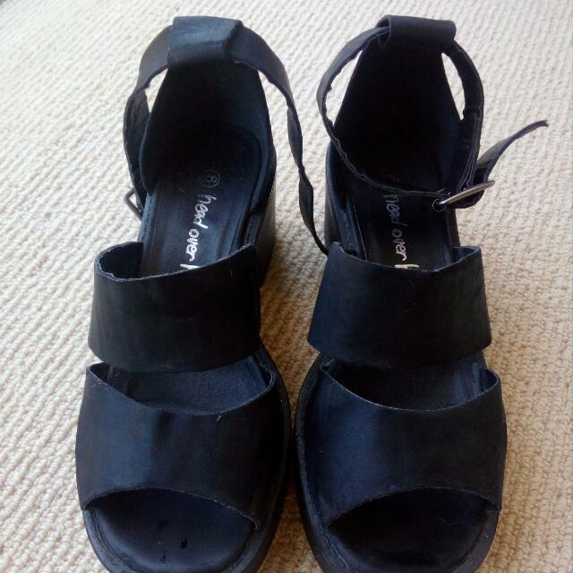 Black Platforms With Ankle Strap