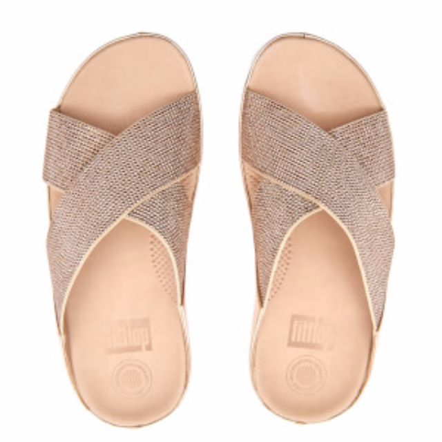 9c8c2ad5265ff BNIB FITFLOP WOMEN S CRYSTALL SLIDE SANDALS - ROSE GOLD UK SIZE 6 ...