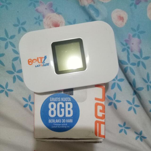 Bolt Modem Wifi 4G LTE Aquila Slim Putih 8GB kartu Perdana Bolt