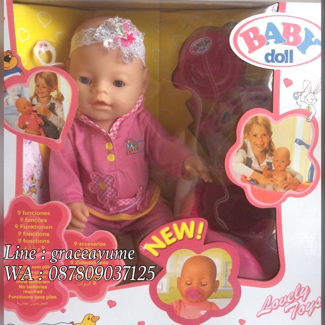 Boneka Bayi Jaket Pink Bisa Pipis Poop Mkn Minum