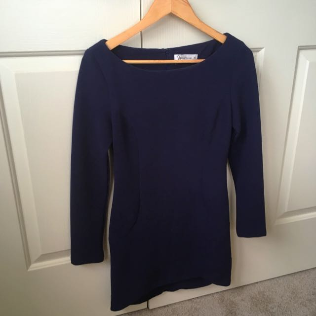 Boutique Navy Long Sleeve Party Dress