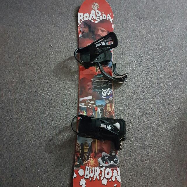 Burton Road Soda (Up In Smoke Edition) 155 Snowboard With Burton Custom Bindings And Burton Boots (Men's 10)