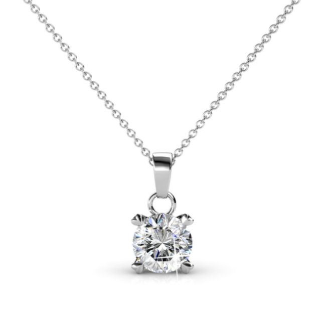 Classic Pendant necklace Ft Swarovski Elements White Gold Nickel Free