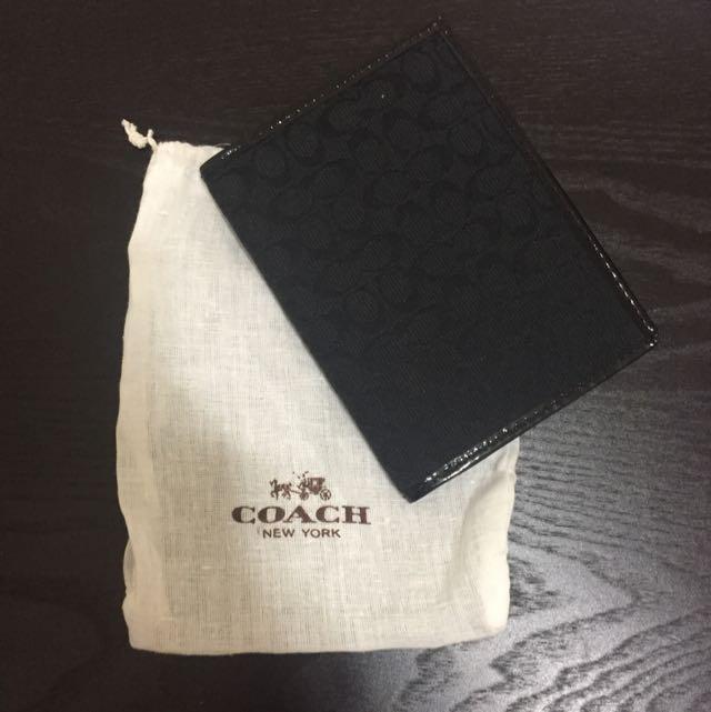 COACH 黑色經典花紋 護照夾