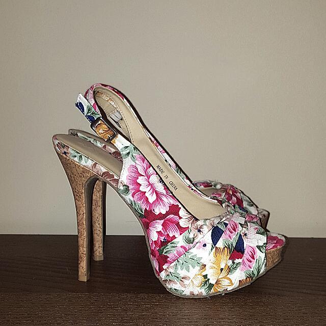 Floral Slingback Sandal Heels - SIZE 6