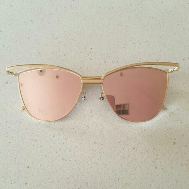 Gold And Pink Reflective Sunglasses