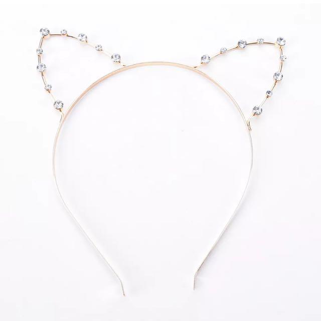 905b2fa02 Gold Diamond Crystal Cat Ear Headband, Women's Fashion, Accessories on  Carousell