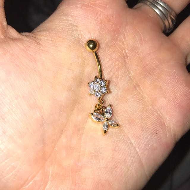 Gold Flower And Butterfly Belly Bar