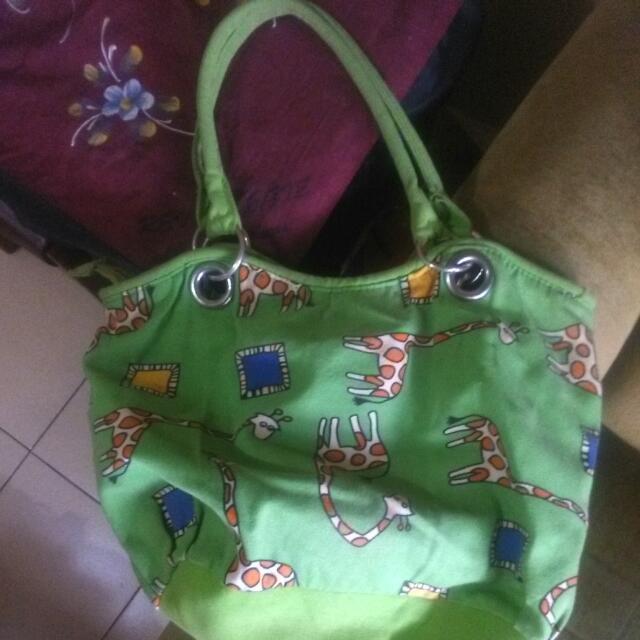 Free Ongkir! Green Giraffe Pattern Bag