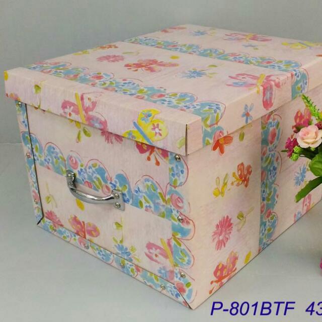 Hard corrugate recycled paper storage box