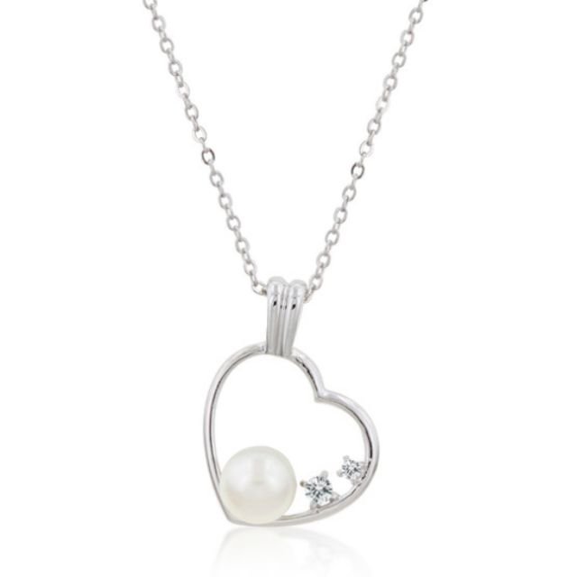 Heart Pend Chain set with CZ and Faux Pearl Lobster Clasp Round Elegant