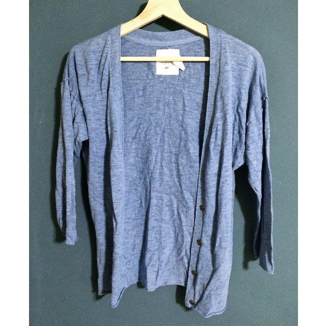 H&M 灰藍紫銅釦七分袖針織外套