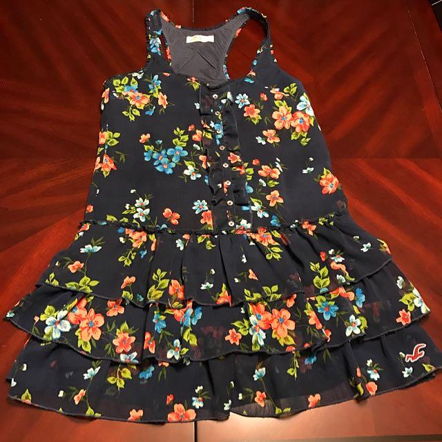 Hollister Floral Ruffled Bottom Dress