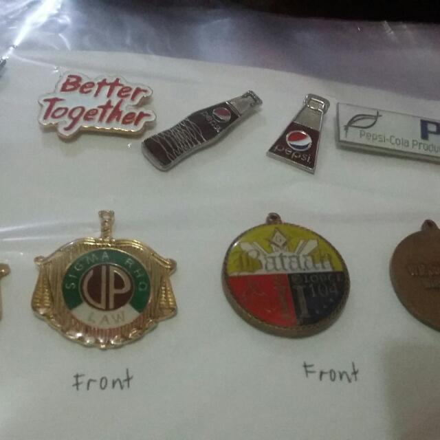 keychain, collar pins, medals