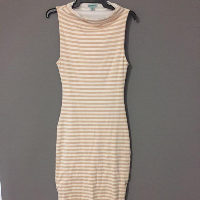 Kookai Midi, Striped White And Nude