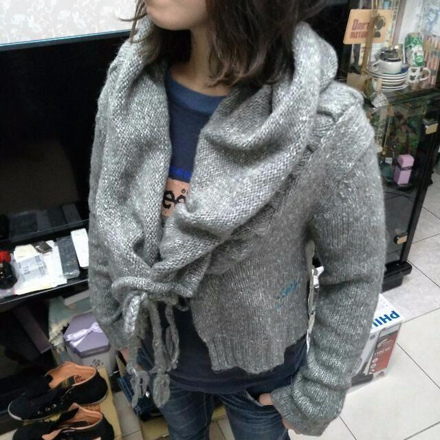 L號 全新正品 ROXY 灰色短版針織罩衫 造型獨特