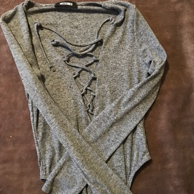 Laced Up Grey Bodysuit