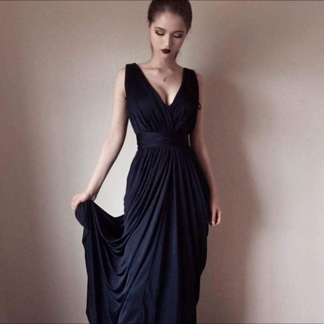 Long Navy Blue Formal Dress - Shieke