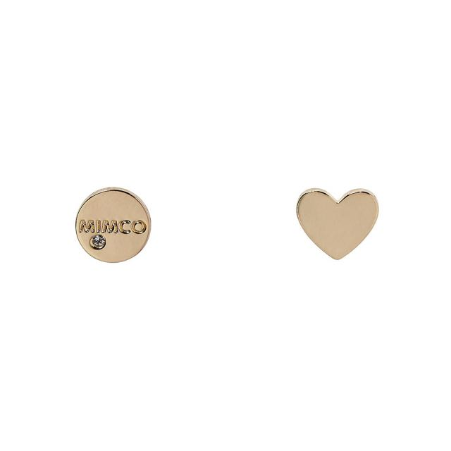 Mimco Take Two Gold Heart Studs Earrings