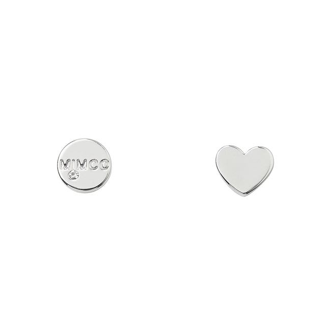 Mimco Take Two Heart Stud Earrings Silver