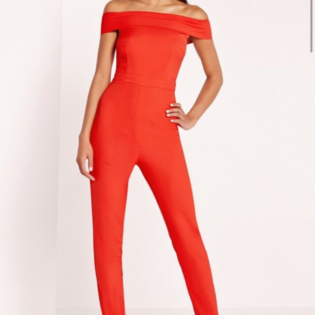 MissGuided Red Off The Shoulder Jumpsuit