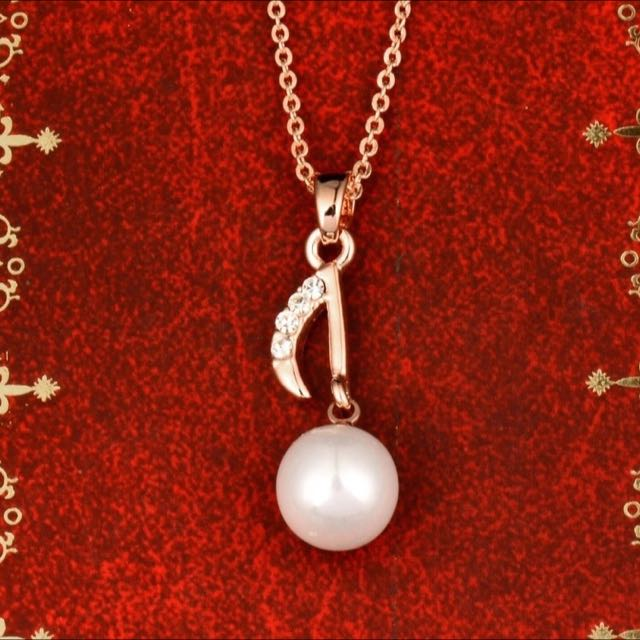 Music Pearl Note Pendant Necklace / Kalung Musik Liontin Not