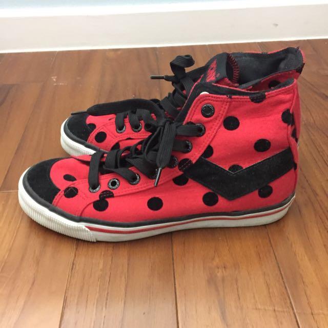 PONY 紅黑波點高筒帆布鞋