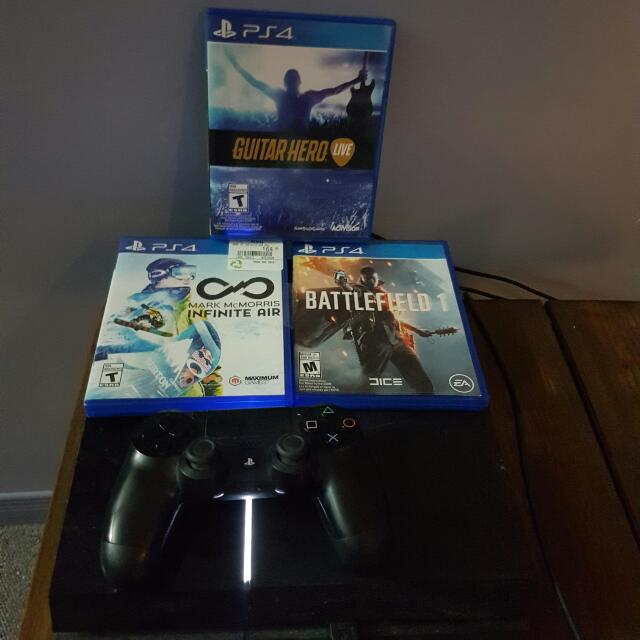 PS4- 1 Controller, Battlefield 1, Guitar Hero Live, Mac Mcmorris Infinite Air