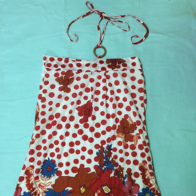 Red Polka Halter Summer Dress