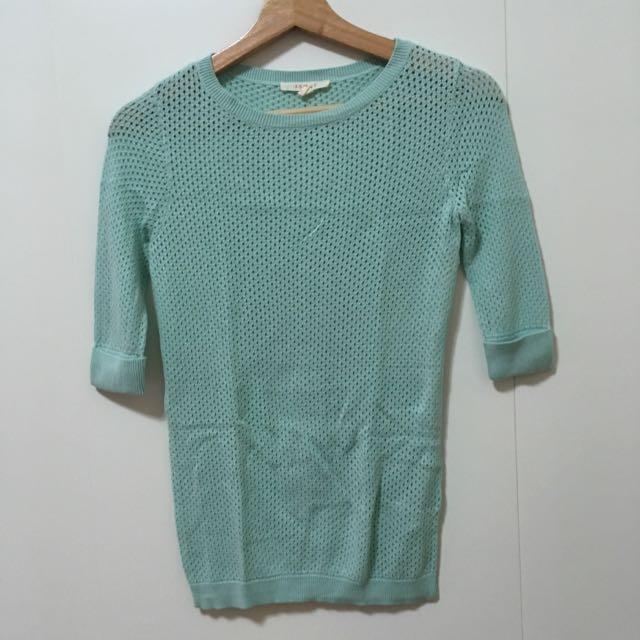 二手-SPRIT淺綠色 洞洞款針織上衣