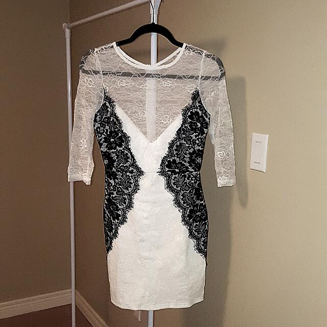 White Lace Dress With Black Lace Details- SMALL