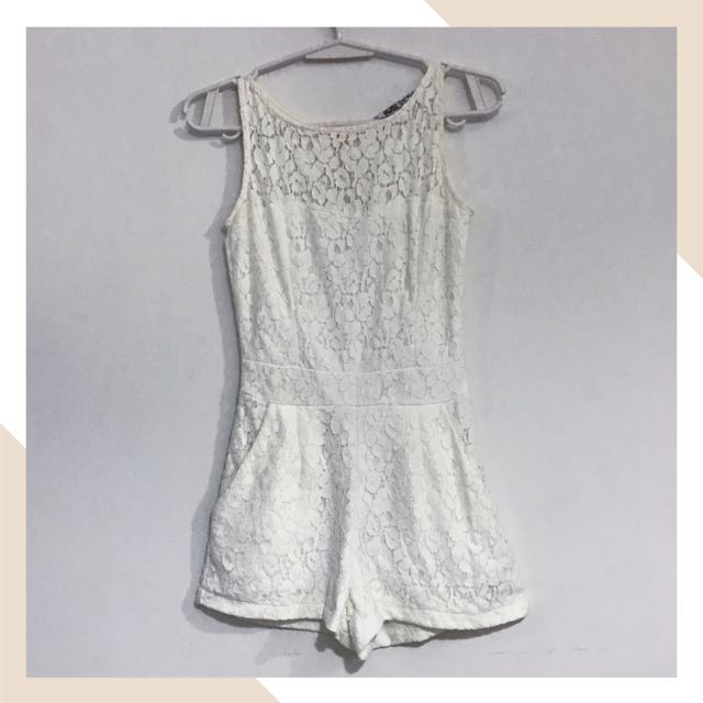 White Laced romper