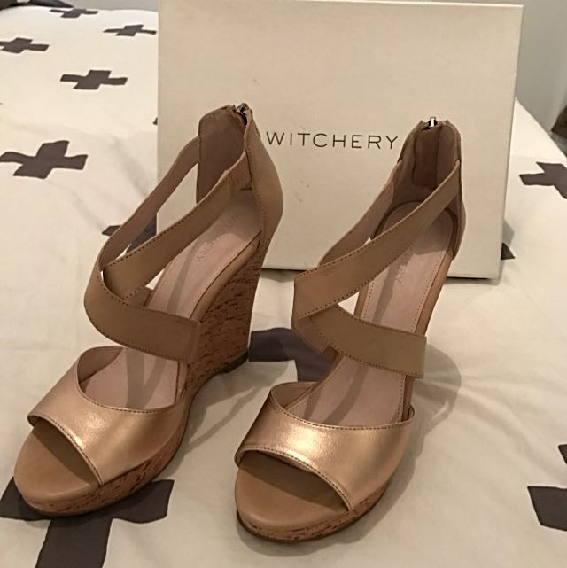Witchery Gold And Cork Wedge