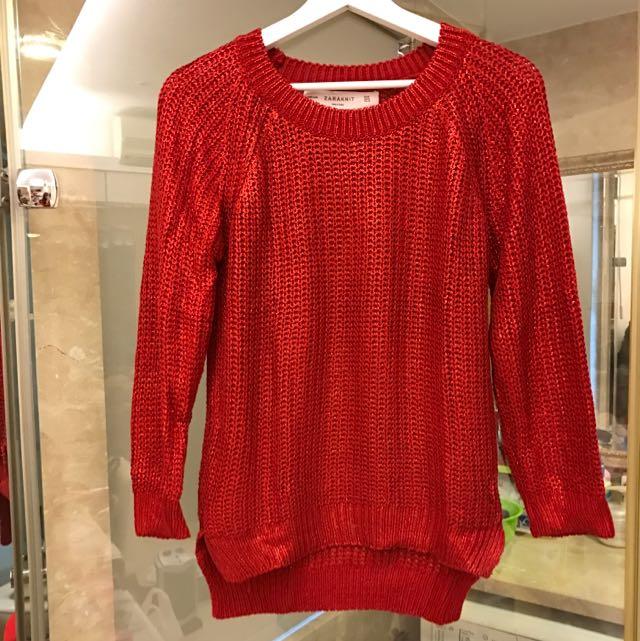 Zara金屬紅色針織毛衣(保留)