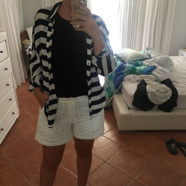 Zara Navy And White Striped Button Up Shirt