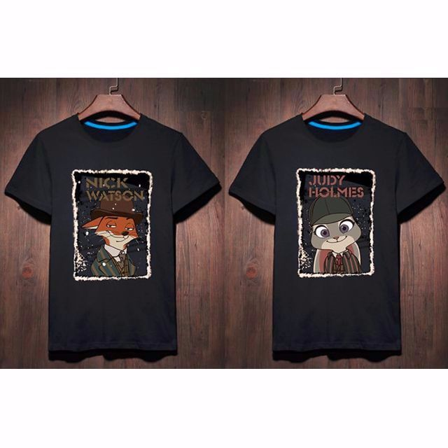 26458a7b2 Zootopia in Sherlock Holmes Nick & Judy Couple T-Shirt - Unisex ...