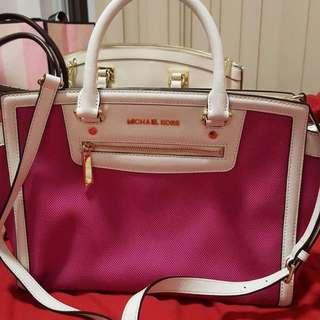 Preloved MK Selma Pink and White