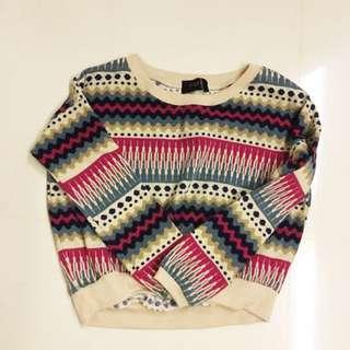 Tribal Print Crop Sweater