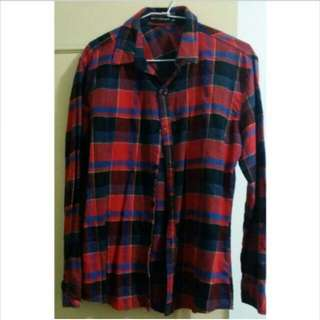 NT$120含運【二手】韓版紅藍格紋 長袖 襯衫