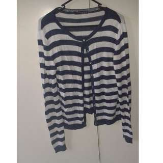 Navy / white striped cardigan