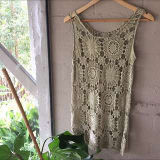 Vintage Crochet Dress - Can be worn with slip underneath during the evening or perfect by itself for the beach/a festival!