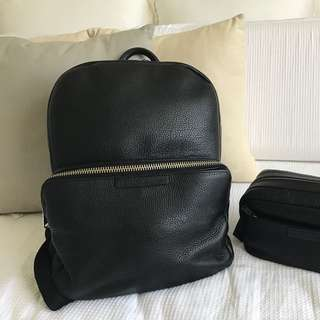 Authentic Marc Jacobs Leather Backpack And Toiletries Bag
