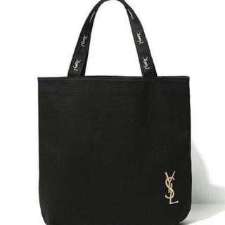大量現貨馬上出   YSL聖羅蘭 雜誌附錄同款    金色刺繡粉內裡黑色帆布多用途側  肩包  購物袋   托特包  書包  側背包  手提包