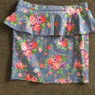 Cute Cupcake Flower Jean Skirt