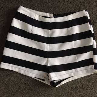 Stripy High Wasted Shorts