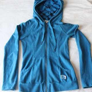 Burberry Brit Hoodie Checked Hood Blue, Size XS