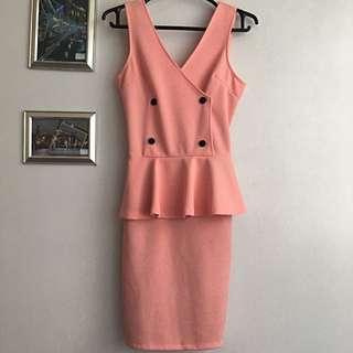 Pink Peach Peplum Dress