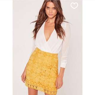 Brand New Missguided Yellow Lace Mini Skirt