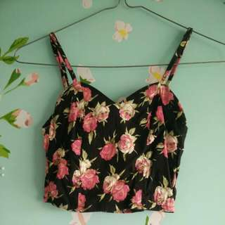 Floral Pink And Black crop Top