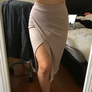Glassons Mauve Ribbed Skirt With Side Split